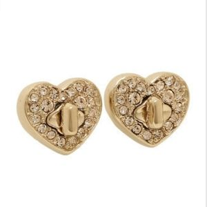 Coach Gold Twinkling Heart Stud Earrings NWT
